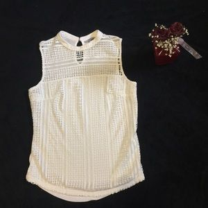 H&M lace lined tank top white size small